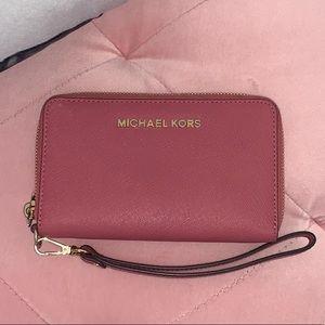 Michael Kors rose wallet with wristlet strap